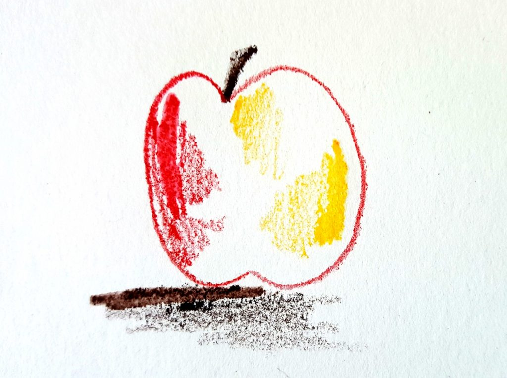 apple drawing with wet watercolor pencils