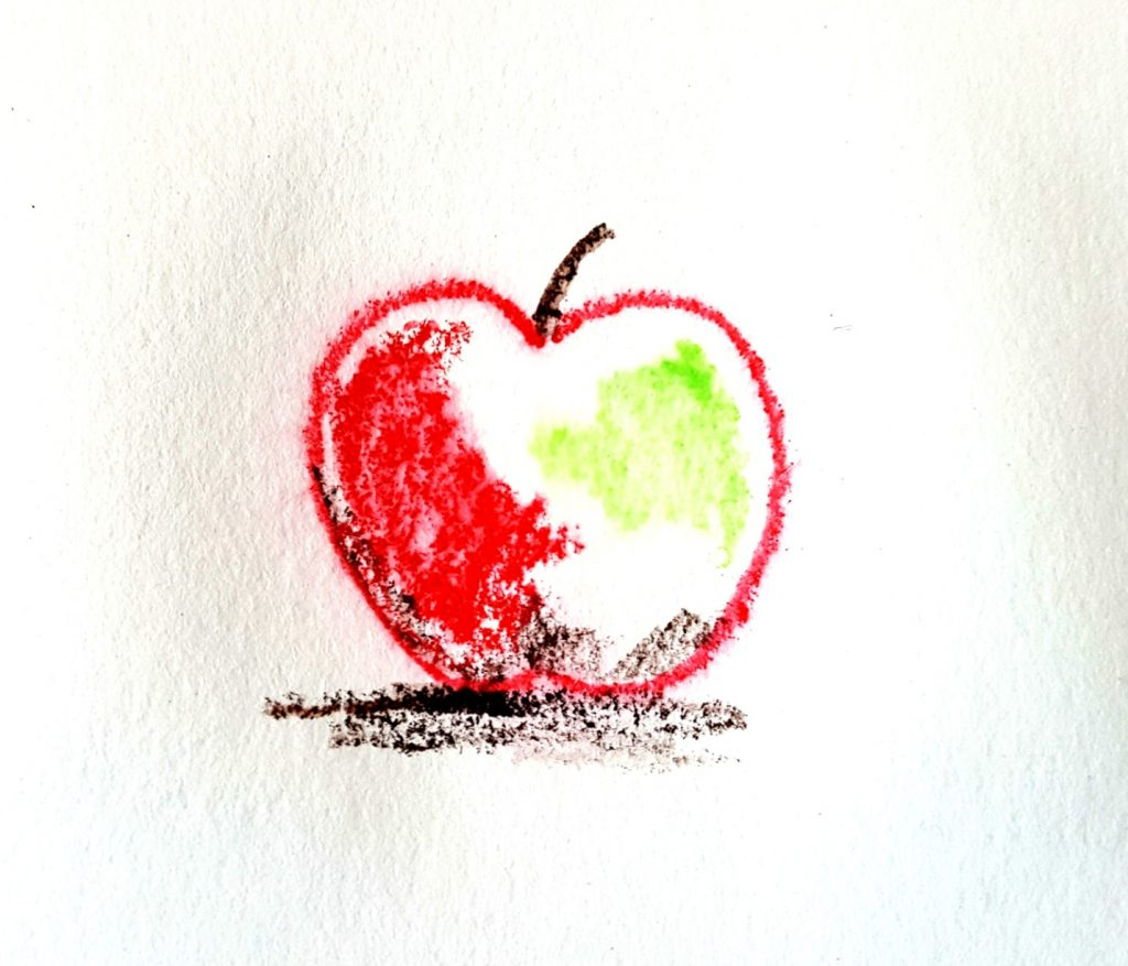 apple drawing with heavy texture and bold colors
