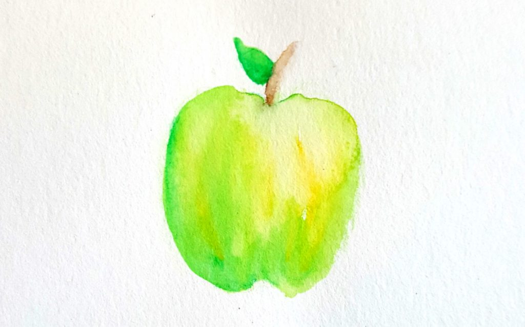 apple drawn with watercolor pencils