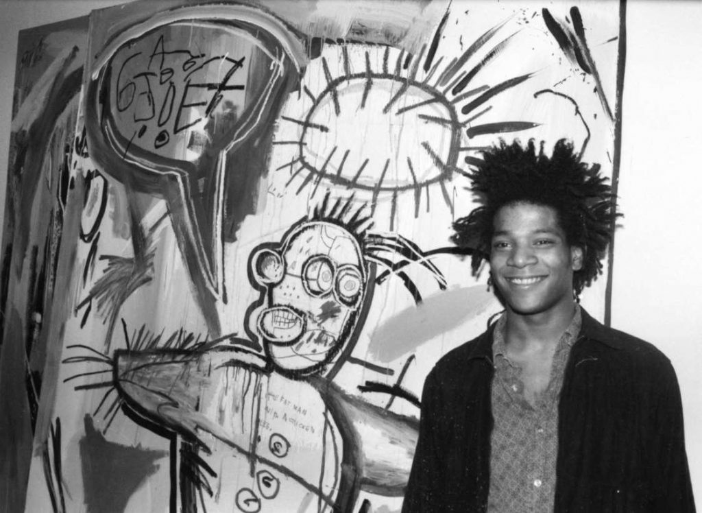 Jean-Michel Basquiat, black and white photo by Marion Busch