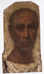 Mummy portrait of an old man, tempera and encaustic on wood