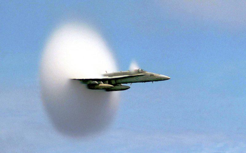 "F/A-18 ""Hornet"" breaks sound barrier"